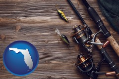 florida map icon and fishing rods and reels