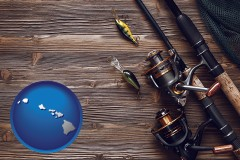 hawaii map icon and fishing rods and reels
