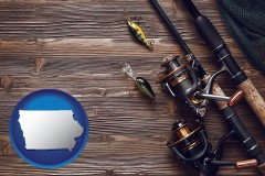 iowa map icon and fishing rods and reels