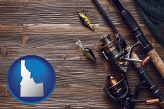idaho map icon and fishing rods and reels