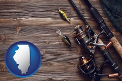 illinois map icon and fishing rods and reels