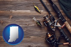 indiana map icon and fishing rods and reels