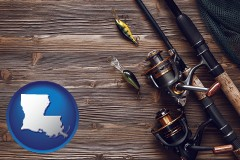 louisiana map icon and fishing rods and reels