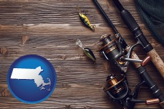 massachusetts map icon and fishing rods and reels
