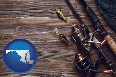 maryland map icon and fishing rods and reels