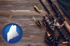 maine map icon and fishing rods and reels