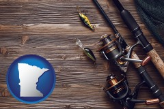 minnesota map icon and fishing rods and reels