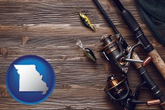 missouri map icon and fishing rods and reels