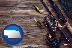 nebraska map icon and fishing rods and reels