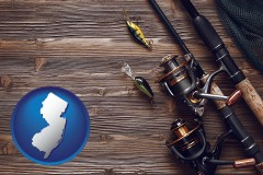 new-jersey map icon and fishing rods and reels