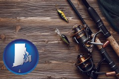 rhode-island map icon and fishing rods and reels