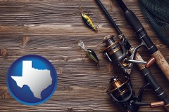texas map icon and fishing rods and reels