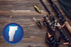 vermont map icon and fishing rods and reels