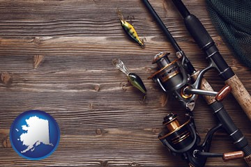 fishing rods and reels - with Alaska icon