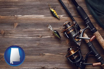 fishing rods and reels - with Alabama icon