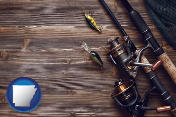 fishing rods and reels - with Arkansas icon