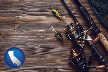 fishing rods and reels - with California icon