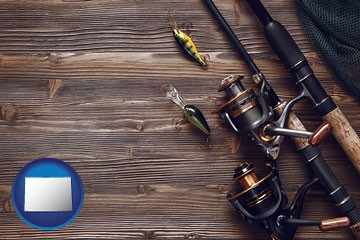 fishing rods and reels - with Colorado icon