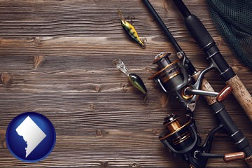 fishing rods and reels - with Washington, DC icon