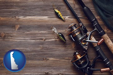 fishing rods and reels - with Delaware icon