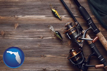 fishing rods and reels - with Florida icon
