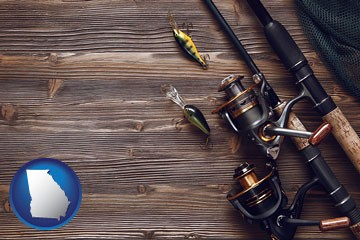 fishing rods and reels - with Georgia icon