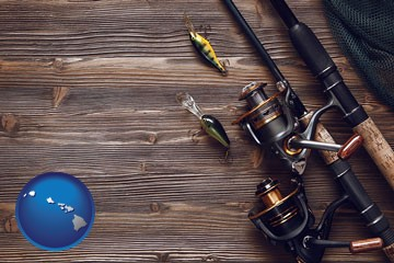 fishing rods and reels - with Hawaii icon