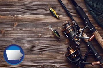 fishing rods and reels - with Iowa icon