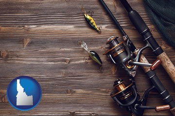 fishing rods and reels - with Idaho icon