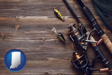 fishing rods and reels - with Indiana icon