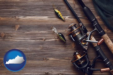 fishing rods and reels - with Kentucky icon