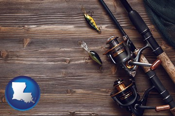 fishing rods and reels - with Louisiana icon