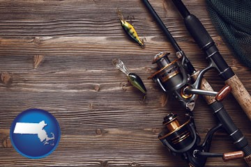 fishing rods and reels - with Massachusetts icon