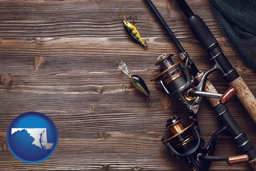 fishing rods and reels - with Maryland icon
