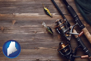 fishing rods and reels - with Maine icon