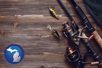 fishing rods and reels - with Michigan icon