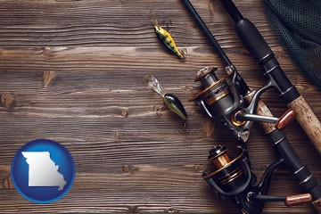 fishing rods and reels - with Missouri icon