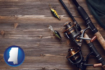 fishing rods and reels - with Mississippi icon