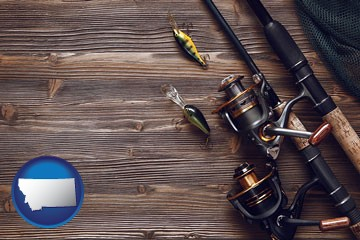 fishing rods and reels - with Montana icon