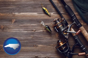 fishing rods and reels - with North Carolina icon