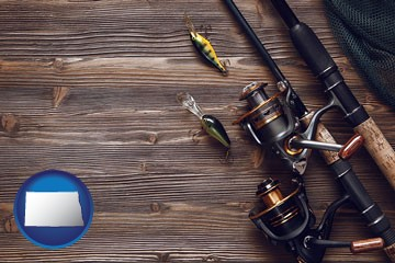 fishing rods and reels - with North Dakota icon