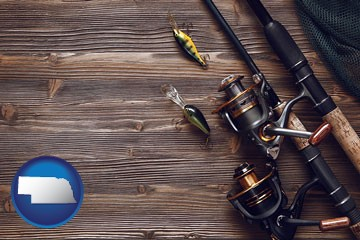 fishing rods and reels - with Nebraska icon