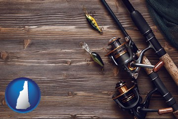 fishing rods and reels - with New Hampshire icon