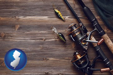 fishing rods and reels - with New Jersey icon