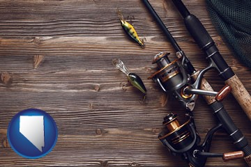 fishing rods and reels - with Nevada icon