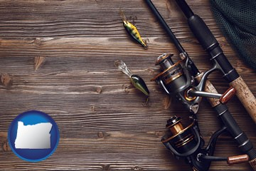 fishing rods and reels - with Oregon icon