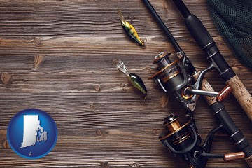 fishing rods and reels - with Rhode Island icon