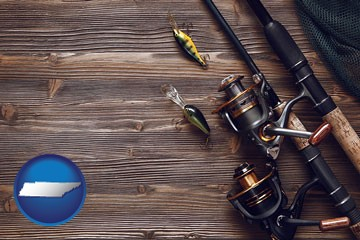 fishing rods and reels - with Tennessee icon