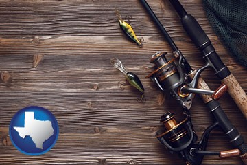 fishing rods and reels - with Texas icon