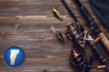 fishing rods and reels - with Vermont icon